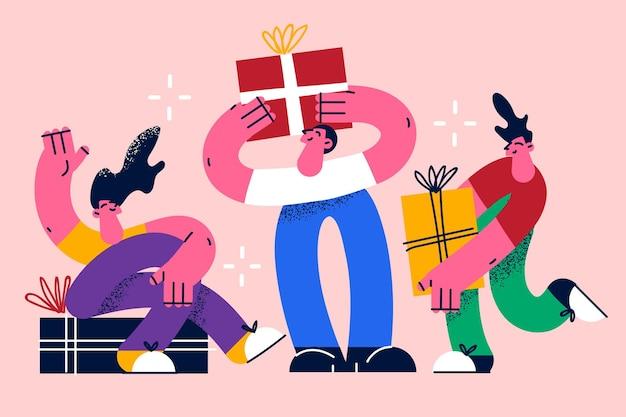Presente conceito de celebração de presente de feriado