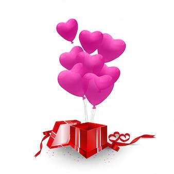 Presente cor-de-rosa do coração dos balões que flutua fora da caixa no céu para seu espaço do texto no conceito do feriado do curso, ilustração do vetor.