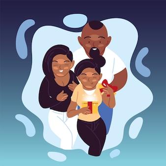 Presente de abertura da família negra, feliz aniversário, decoração de festa festiva e ilustração do tema surpresa