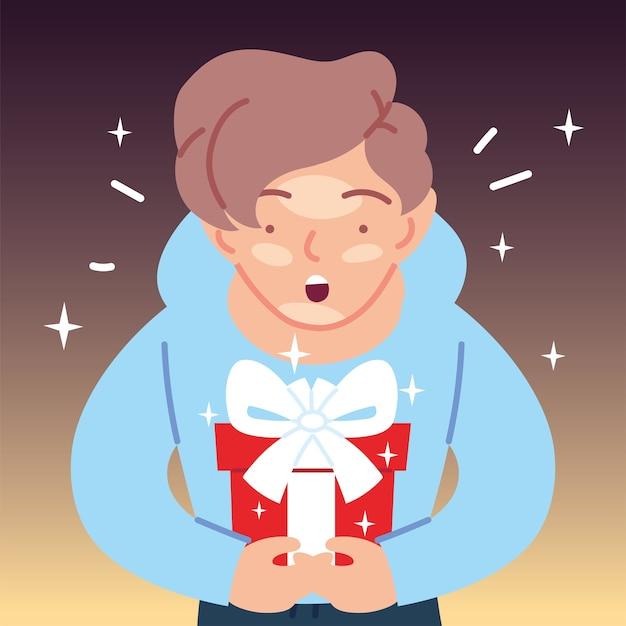 Presente de abertura de desenho animado de menino de cabelo castanho, feliz festa de decoração de festa de aniversário e ilustração de tema surpresa