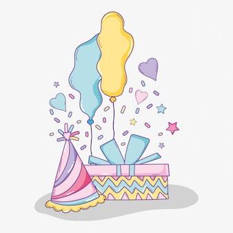 Presente de aniversário com chapéu de festa e balões