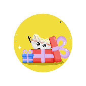Presente de aniversário, macarrão ramen, mascote fofa personagem