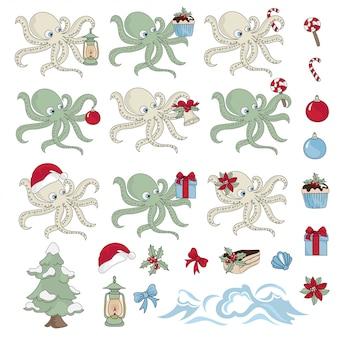 Presente de ano novo conjunto de ilustração de octopus