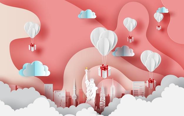 Presente de balões da cidade de nova york. eua.