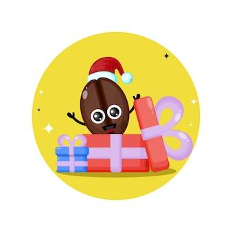 Presente de café com logotipo de personagem fofa de natal