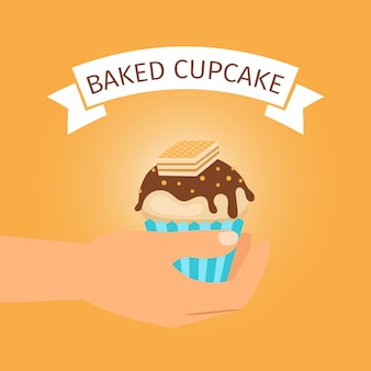 Presente de cupcake amarelo assado