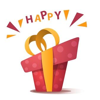 Presente de feliz aniversário vermelho com laço