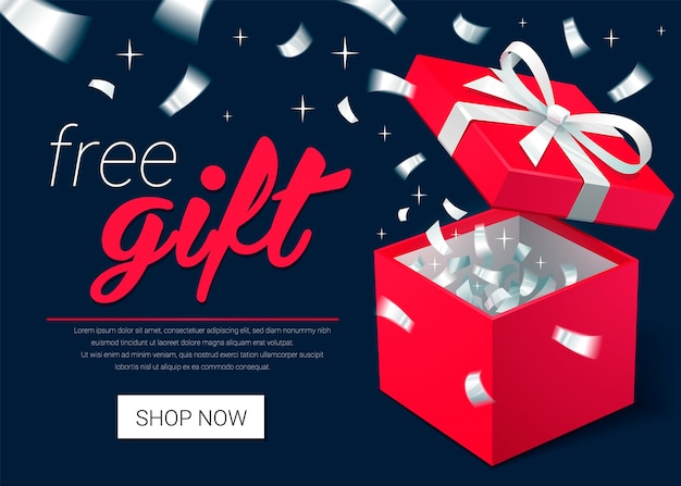 Presente de natal - banner promocional com caixa de presente aberta e confete prata