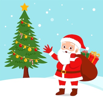 Presente de natal feliz santa cláusula