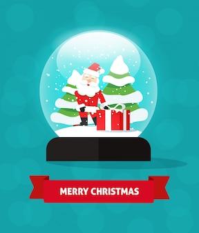Presente de papai noel do globo de neve com desenhos animados plana de árvores de ano novo