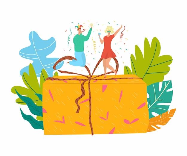 Presente de pessoas, fantasias de festa, presente feliz, personagem de celebração, saudação festiva, ilustração. grupo do evento de solenização, conjunto de festa do champanhe, surpresa aleatória.