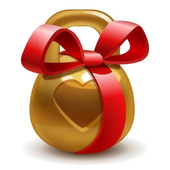 Presente dourado kettlebell com um laço