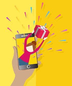 Presente feminino bonito do ícone inteligente do smartphone