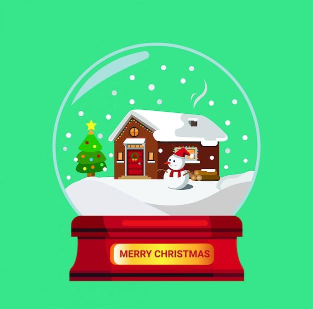 Presente ou lembrança do globo de neve vermelha. casa, madeira, coberto, neve, ilustração