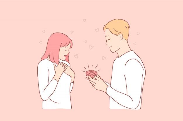 Presente, proposta, romance, amor, conceito de família