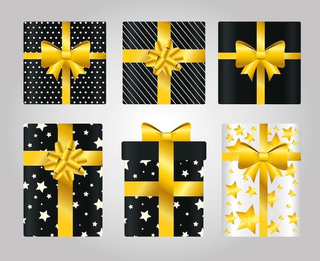 Presentes com cenografia, caixa de presentes de natal, compras, festa de aniversário, decoração e surpresa
