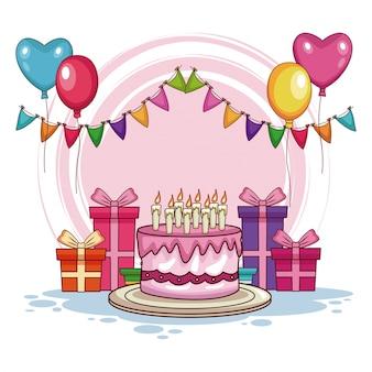 Presentes de aniversário e bolo com balões