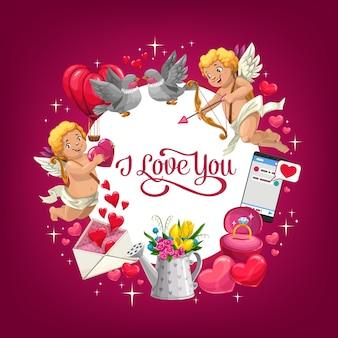 Presentes de dia dos namorados, corações de amor e anel de casamento