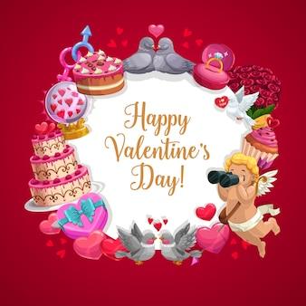 Presentes de dia dos namorados, cupido, corações vermelhos e moldura de anel de noivado