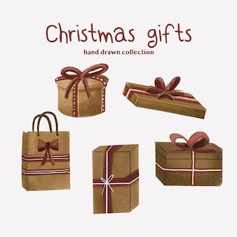 Presentes de natal - coleção desenhada mão