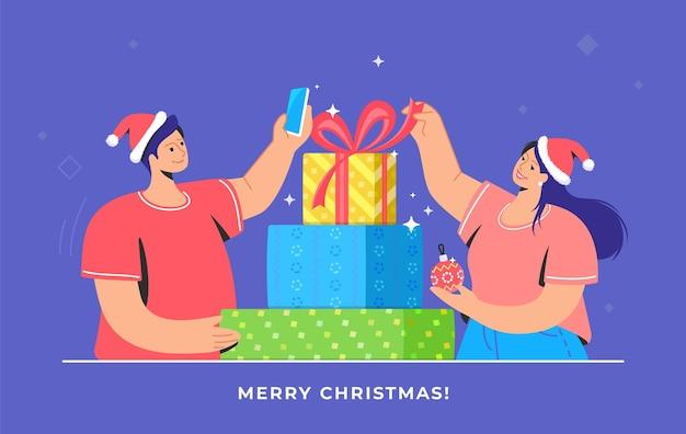 Presentes de natal desempacotando e tirando fotos para redes sociais casal desempacotando presentes e presentes