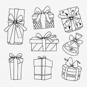 Presentes de natal desenhados à mão