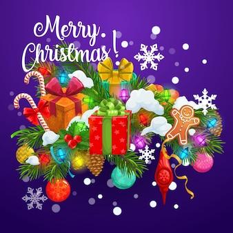Presentes de natal em galhos de árvores de natal com bolas e neve, cartão de férias de inverno.