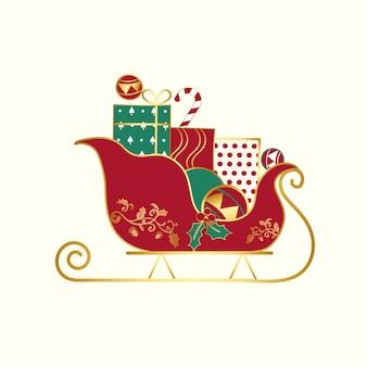 Presentes de natal em um vetor de trenó