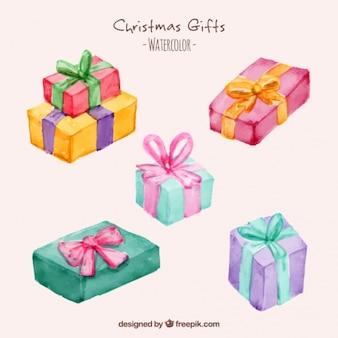 Presentes de natal fantásticos pintados com aguarela