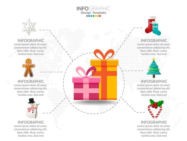 Presentes de natal infográfico com cores de decoração e opção.