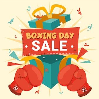 Presentes de venda de evento de boxe desenhado