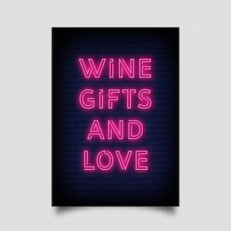 Presentes de vinho e amor para cartaz em estilo neon.