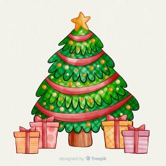 Presentes e árvore de natal em aquarela