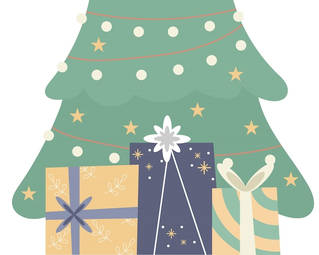 Presentes e árvore para o dia de natal