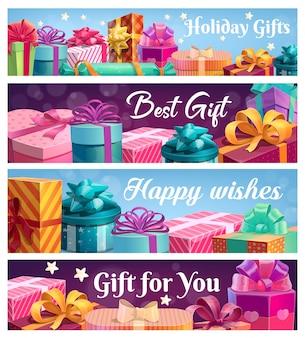 Presentes festivos, caixas de presente com fitas