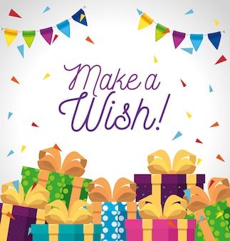 Presentes para presentes com laço de fita e festa, cartão de felicitações