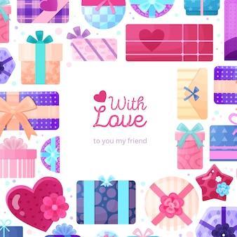 Presentes românticos apresenta embalagem moldura plana com quadrado redondo retangular e caixas em forma de coração de amor