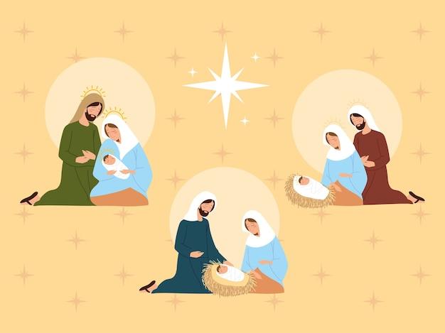 Presépio, diferentes cenas de família sagrada juntas na manjedoura