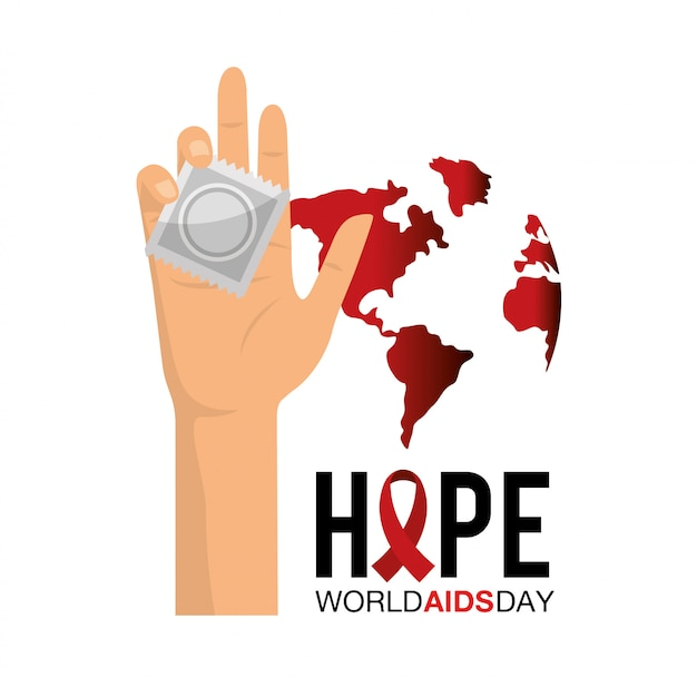Preservativo na mão para o dia mundial da sida