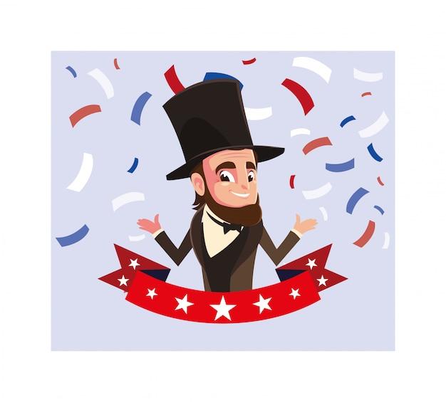 Presidente abraham lincoln com fita, cartão do dia do presidente