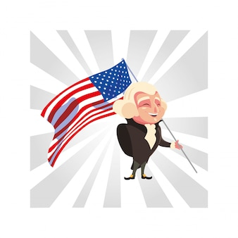 Presidente george washington com bandeira eua, presidente dia cartão