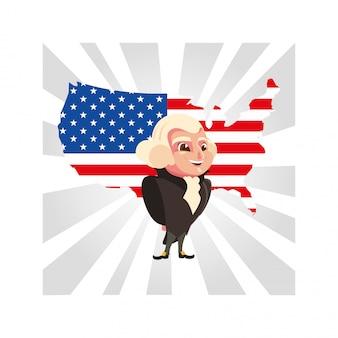 Presidente george washington com mapa estados unidos