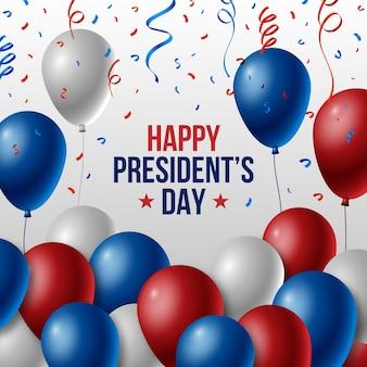 Presidentes dia conceito com balões realistas