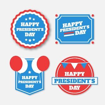 Presidentes dia rótulo coleção conceito