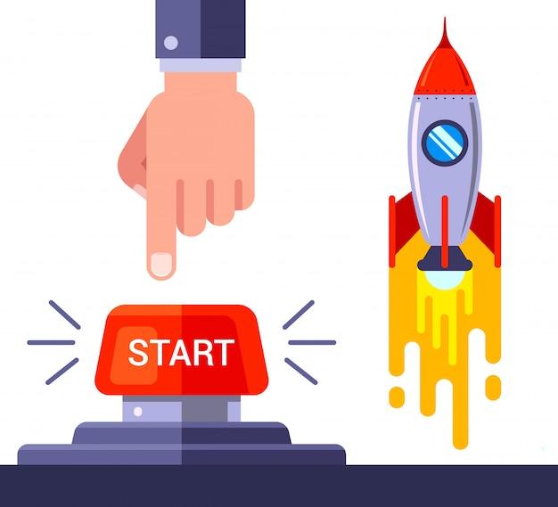 Pressione o botão vermelho e lance o foguete espacial. lustração.