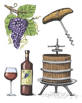 Pressione para uvas esboçar saca-rolhas vinho garrafa e copo em estilo vintage, ilustração em xilogravura gravada