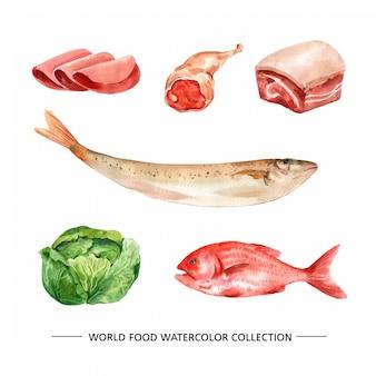 Presunto aquarela isolado, peixe, ilustração de carne