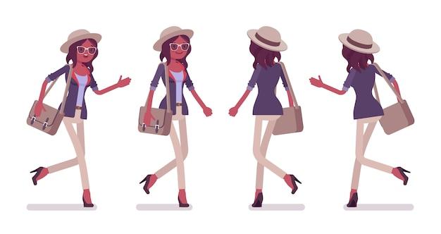 Preta atraente inteligente mulher casual usando chapéu e óculos andando, correndo. menina magra e elegante com bolsa mensageiro com pressa. estilo cartoon ilustração frontal, vista traseira