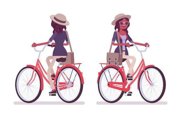 Preta atraente inteligente mulher casual usando chapéu e óculos de ciclismo