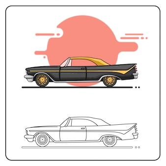 Preto amarelo velho carro fácil editável